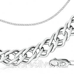 Цепь  серебро с родием, без вставок, ромб двойной 81070050150 размеры - 50