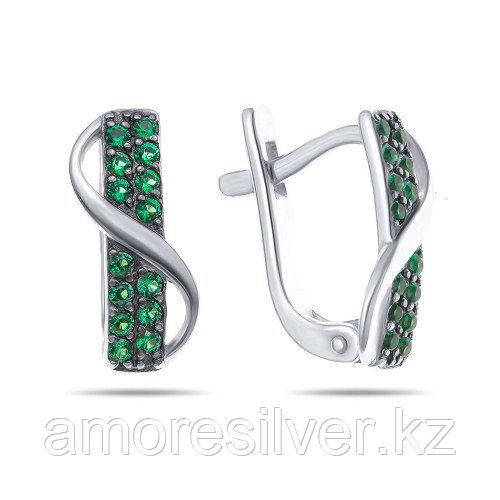 Серьги Prestige серебро с родием, фианит цветной, дорожка 02513с