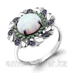 Кольцо Aquamarine серебро с родием, нано изумруд нано сапфир опал синт. фианит шпинель, флора 6598998БГ.5