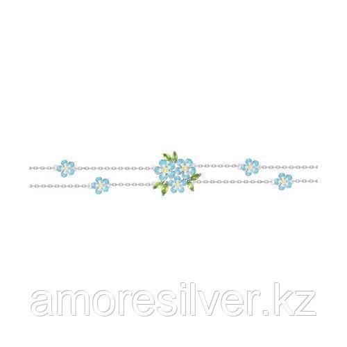Браслет SOKOLOV серебро с родием, хризолит эмаль фианит  92050109