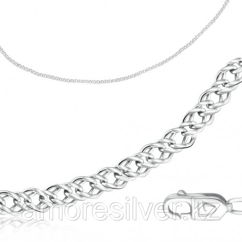 Цепь  серебро с родием, без вставок, ромб двойной 81035050155