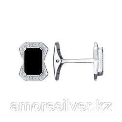 Запонки SOKOLOV серебро с родием, фианит  наношпинель  94160041