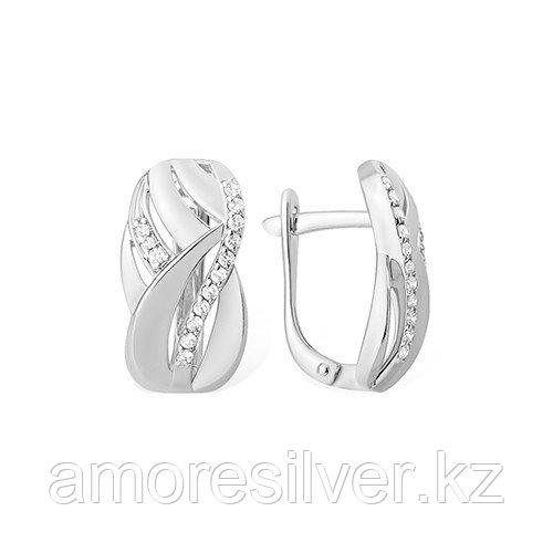 Серьги  серебро с родием, фианит, геометрия 1210015381