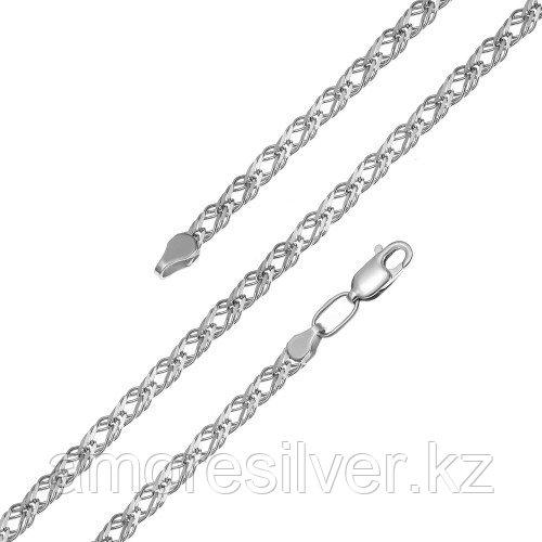 Цепь  серебро с родием, без вставок, ромб тройной 81050370150
