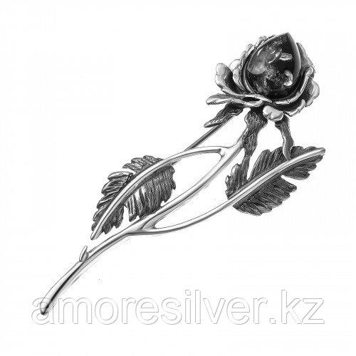 Брошь Amulet , янтарь, цветы 4.055