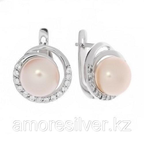 """Серьги ЮК """"Серебро"""" серебро с родием, жемчуг розовый культ. фианит, круг ME4324-P"""