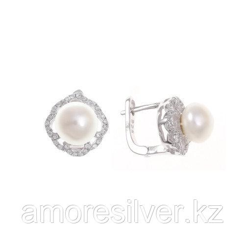 Серьги Teosa серебро с родием, жемчуг культ. фианит, флора PRLBE146-W