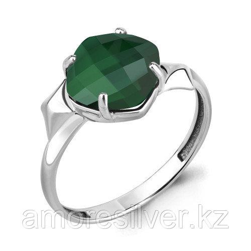 "Кольцо Aquamarine серебро с родием, агат зеленый, ""каратник"" 6905909"