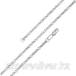 Цепь  серебро с родием, без вставок, фигаро 1-3 81050070145 размеры - 45