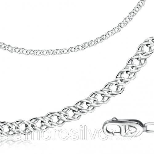 Цепь  серебро с родием, без вставок, ромб двойной 81120050155 размеры - 55