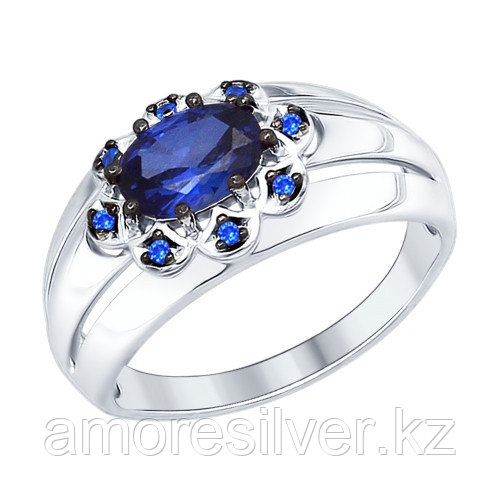 Серебряное кольцо с кварцем и сапфиром синт.   SOKOLOV 88010037