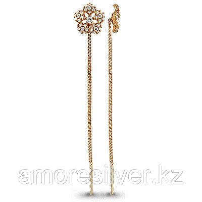 Серебряные серьги с фианитом Aquamarine 41034А#