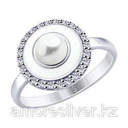 Кольцо SOKOLOV серебро с родием, эмаль фианит  жемчуг синт. 94012663 размеры - 16 20
