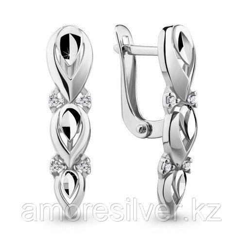 Серебряные серьги с фианитом   Aquamarine 46550А