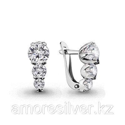Серебряные серьги с фианитом    Aquamarine 46510