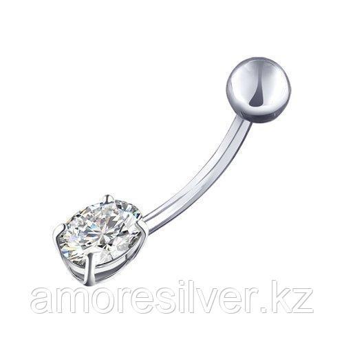 Пирсинг в пупок из серебра с фианитом  SOKOLOV 94060061