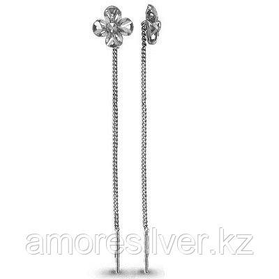Серьги Aquamarine серебро с родием, без вставок, флора 30799.5