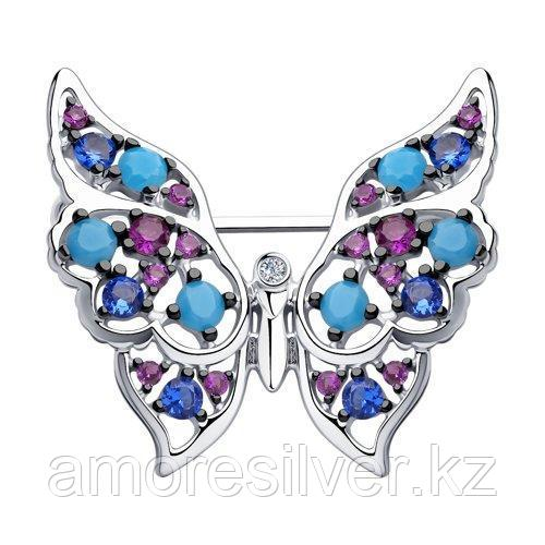 Брошь из серебра с голубыми ситаллами и фианитами  SOKOLOV 83040016