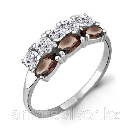Кольцо из серебра с кварцем дымчатым и фианитом   Aquamarine 6535501А