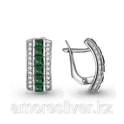 Серебряные серьги с агатом зеленым   Aquamarine 4430509А