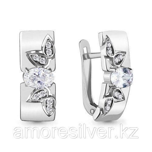 Серьги из серебра с фианитом    Aquamarine 47185А