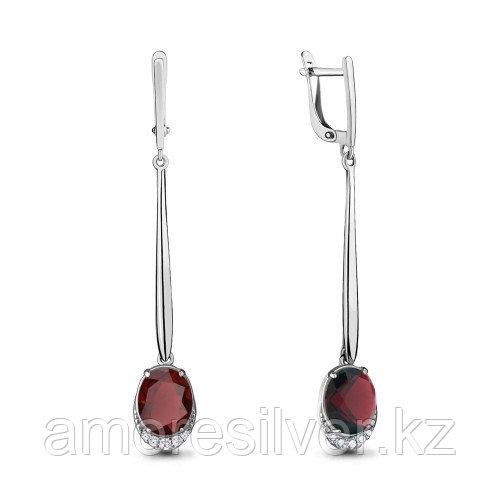 Серебряные серьги с наногранатом синт. и фианитом   Aquamarine 4720285А