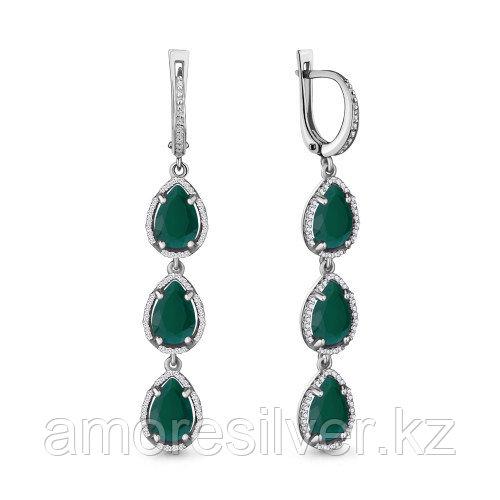 Серебряные серьги с агатом зелёным   Aquamarine 4428909А.5