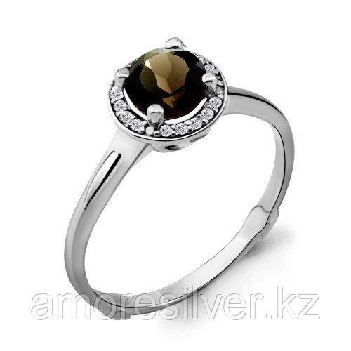 Кольцо из серебра с кварцем дымчатым и фианитом   Aquamarine 6399101А.5