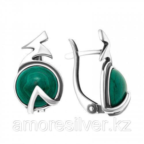 Серебряные серьги с малахитом   Приволжский Ювелир 343616-ML