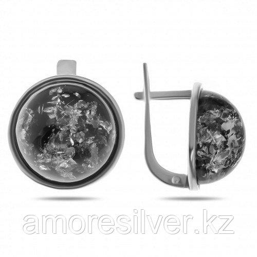Серебряные серьги с янтарем    ЯНТАРНАЯ ЛАГУНА 4LKS374
