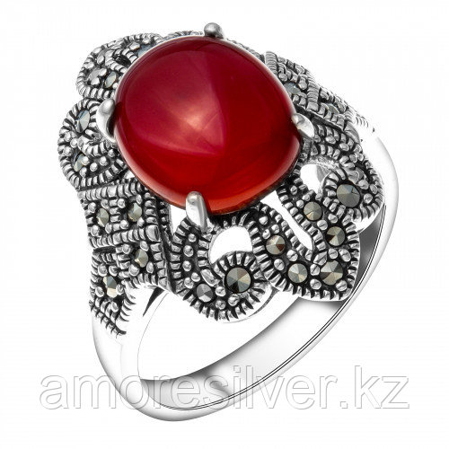 Серебряное кольцо с сердоликом и марказитом    Teosa HR-022-RD размеры - 19