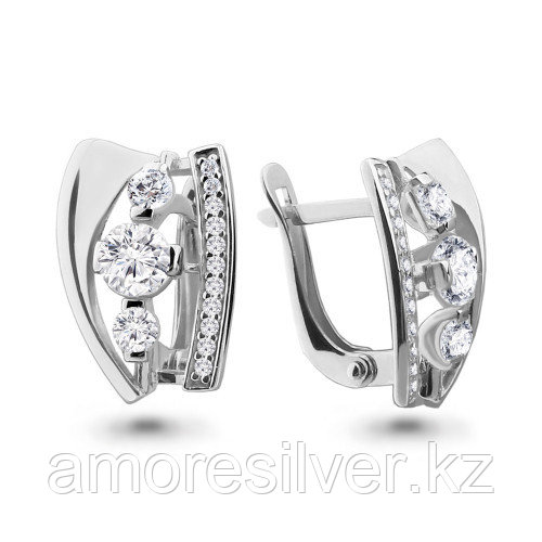Серьги из серебра с фианитом   Aquamarine 46333А.5