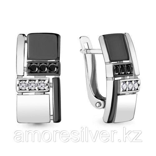 Серьги из серебра с шпинелью и фианитом    Aquamarine 48088АЧ
