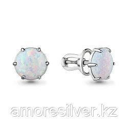 Серьги Aquamarine серебро с родием, опал, круг 4714298.5