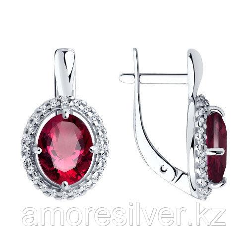 Серебряные серьги с рубином и фианитом    SOKOLOV 94-220-00415-1