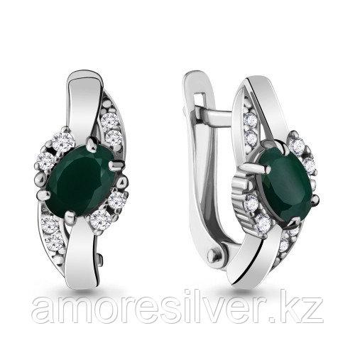Серьги из серебра с агатом зелёным    Aquamarine 4723409А.5