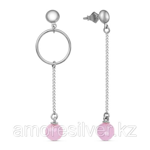 Серебряные серьги с кварцем розовым   Красная Пресня 33611014ДК