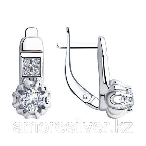 Серьги из серебра с фианитом   SOKOLOV 94-120-00421-1