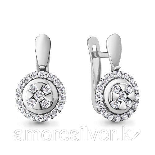 Серьги из серебра с фианитом    Aquamarine 48116А.5