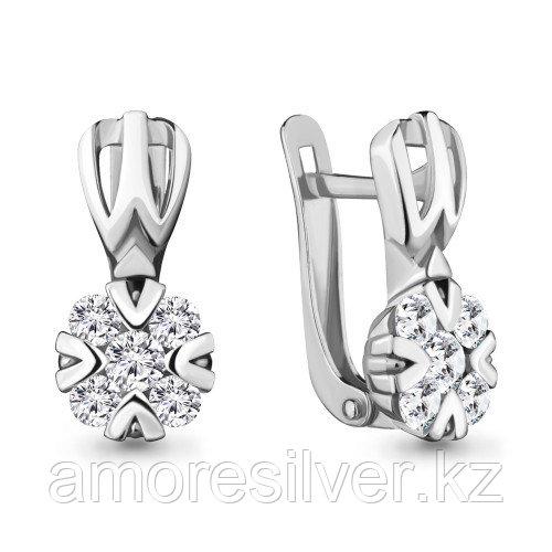 Серебряные серьги с фианитом    Aquamarine 48113А.5