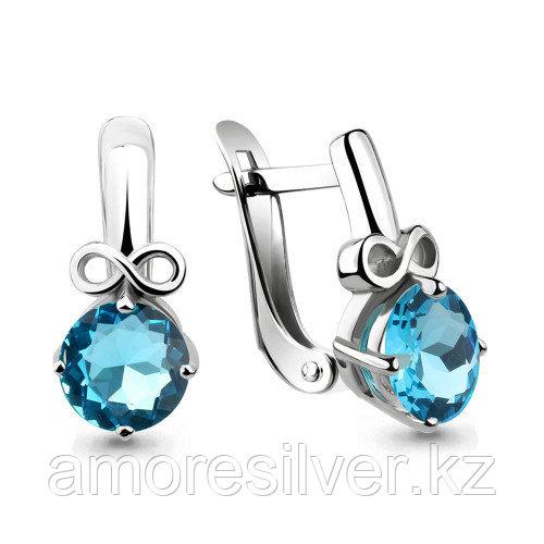 Серебряные серьги с стеклом   Aquamarine 46041101Н.5