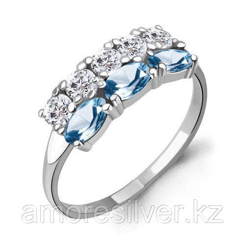 Серебряное кольцо с топазом свисс и фианитом    Aquamarine 6535505А.5 размеры - 19