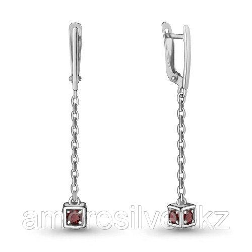 Серебряные серьги с гранатом   Aquamarine 4719503.5