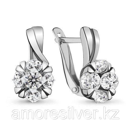 Серебряные серьги с фианитом    Aquamarine 48059А.5