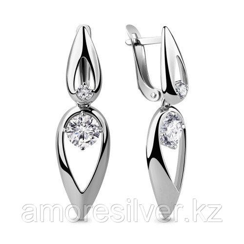 Серебряные серьги с фианитом   Aquamarine 46045.5