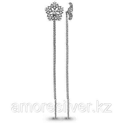 Серебряные серьги с фианитом Aquamarine 41034А.5
