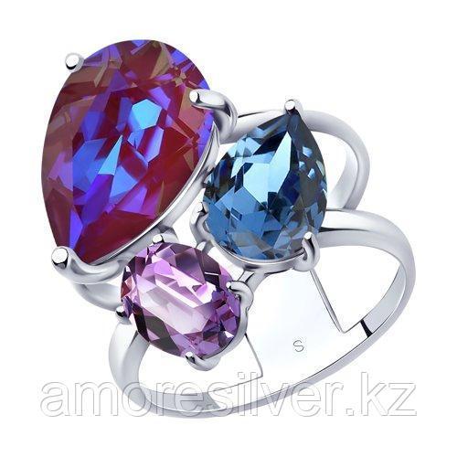 Кольцо из серебра с голубым кристаллами Swarovski   SOKOLOV 94013072 размеры - 16,5