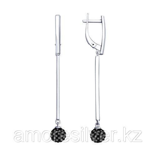 Серьги из серебра с чёрными кристаллами Swarovski  SOKOLOV 94023188