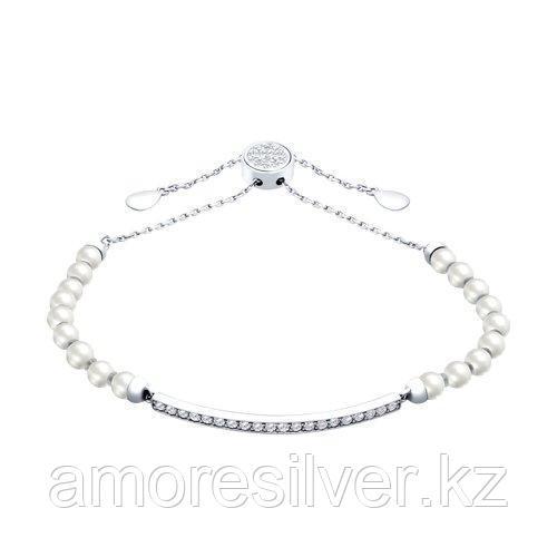 Браслет из серебра с жемчугом Swarovski и фианитами  SOKOLOV 94050402 размеры - 20