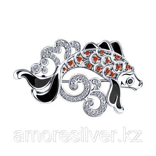 Брошь из серебра с эмалью и фианитами  SOKOLOV 94040154